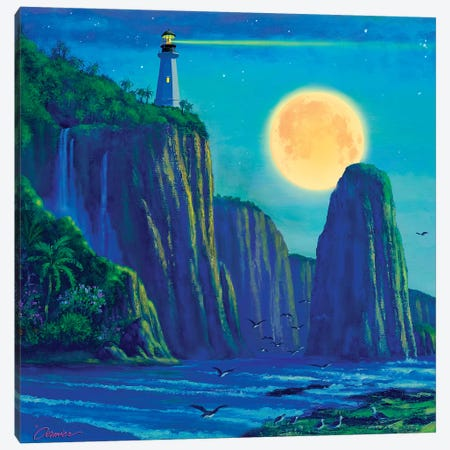 Light House At Moon Bay Canvas Print #WCO19} by Wil Cormier Art Print