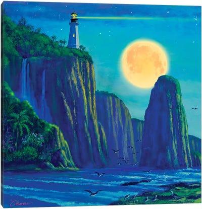 Light House At Moon Bay Canvas Art Print