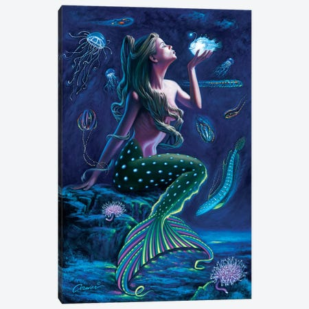 Bioluminescent Mermaid Canvas Print #WCO1} by Wil Cormier Art Print