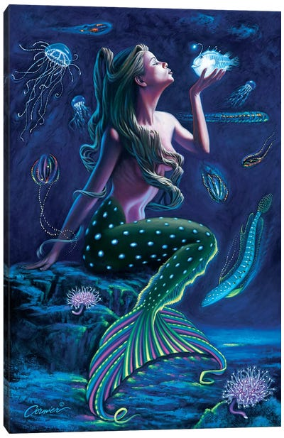 Bioluminescent Mermaid Canvas Art Print