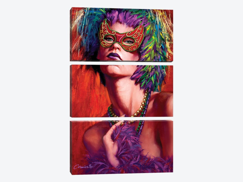 Mardi Gras Cherie by Wil Cormier 3-piece Canvas Art