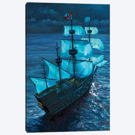 Moonlight Voyage Canvas Print #WCO21} by Wil Cormier Canvas Wall Art