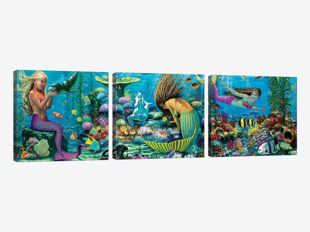 Neptunes Playground II by Wil Cormier 3-piece Canvas Art
