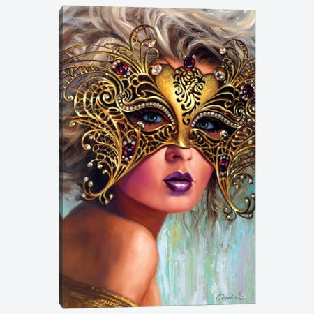 Golden Mask 3-Piece Canvas #WCO9} by Wil Cormier Canvas Print