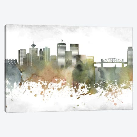Vancouver Skyline Canvas Print #WDA1006} by WallDecorAddict Art Print