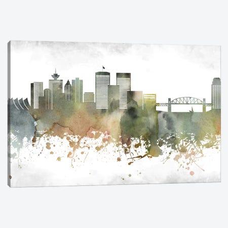 Vancouver Skyline Canvas Print #WDA1006} by WallDecorAddict Art Print