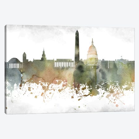 Washington Skyline Canvas Print #WDA1010} by WallDecorAddict Canvas Art Print