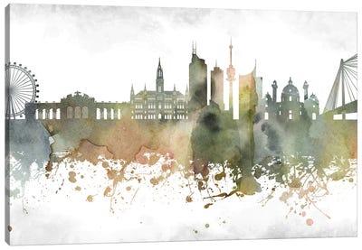 Vienna Greenish Skyline Canvas Art Print
