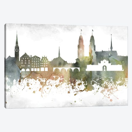 Zurich Skyline Canvas Print #WDA1014} by WallDecorAddict Canvas Wall Art