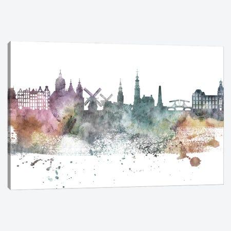 Amsterdam Pastel Skyline Canvas Print #WDA1016} by WallDecorAddict Canvas Wall Art