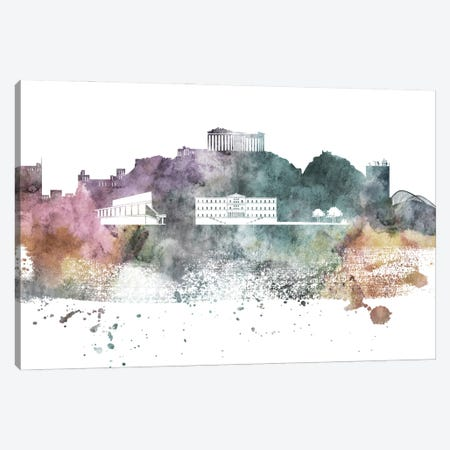 Athens Pastel Skyline Canvas Print #WDA1018} by WallDecorAddict Canvas Art Print