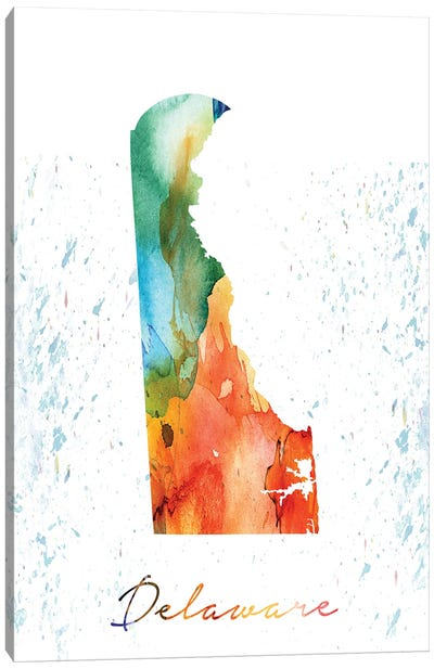 Delaware State Colorful Canvas Art Print