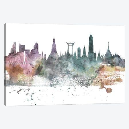 Bangkok Pastel Skyline Canvas Print #WDA1021} by WallDecorAddict Canvas Art