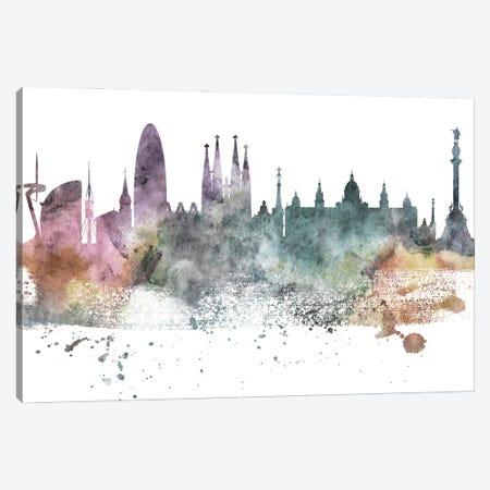 Barcelona Pastel Skyline Canvas Print #WDA1022} by WallDecorAddict Canvas Art