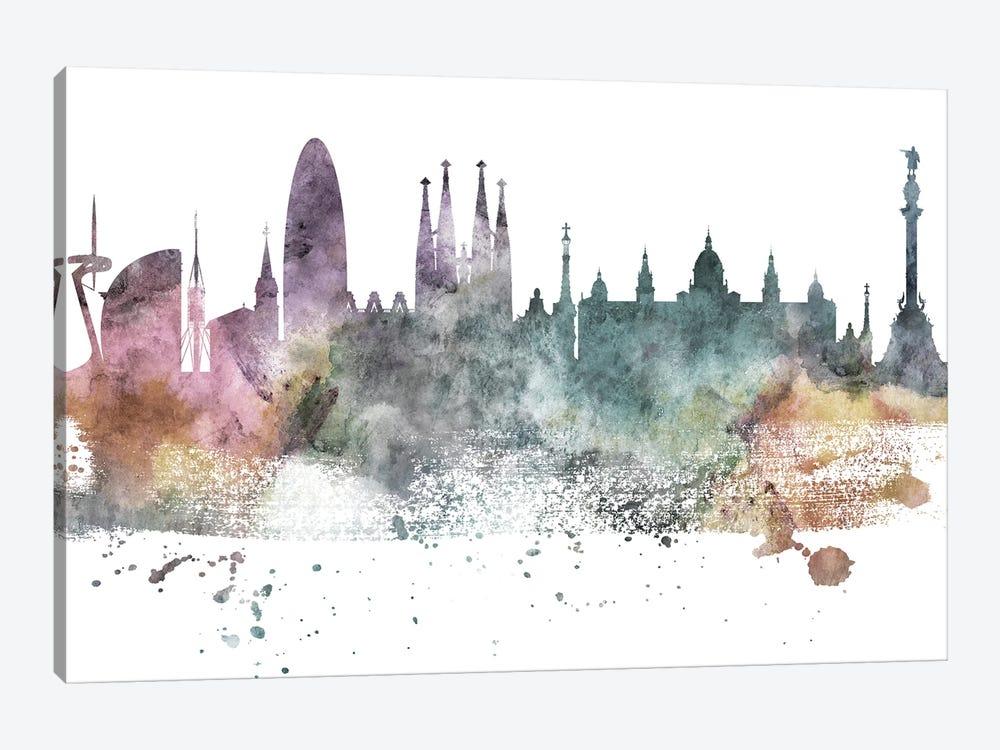 Barcelona Pastel Skyline by WallDecorAddict 1-piece Canvas Artwork