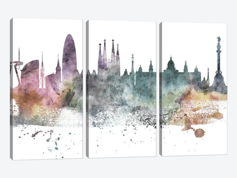Barcelona Pastel Skyline by WallDecorAddict 3-piece Canvas Art