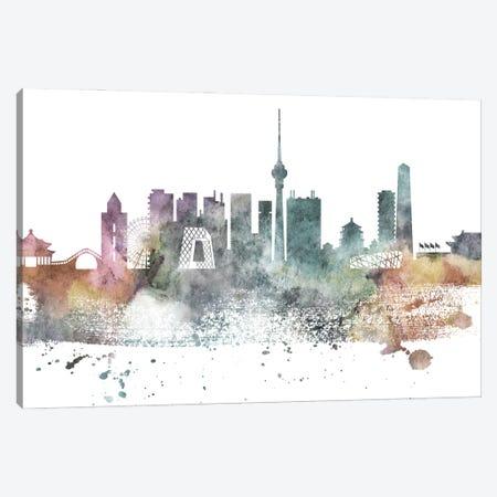 Beijing Pastel Skyline Canvas Print #WDA1023} by WallDecorAddict Canvas Artwork