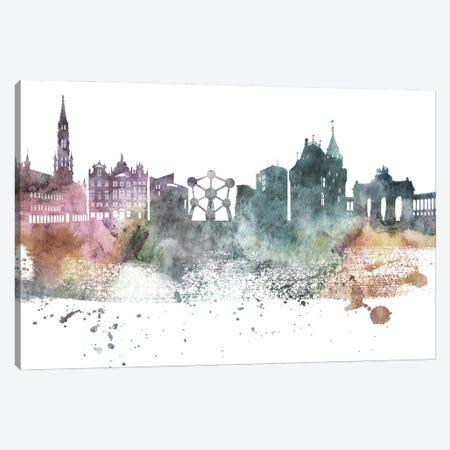 Brussels Pastel Skyline Canvas Print #WDA1027} by WallDecorAddict Canvas Print