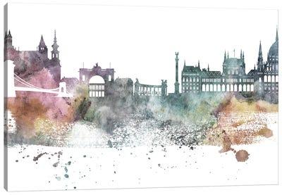 Budapest Pastel Skyline Canvas Art Print