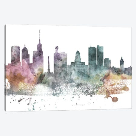 Buffalo Pastel Skyline Canvas Print #WDA1030} by WallDecorAddict Canvas Art Print