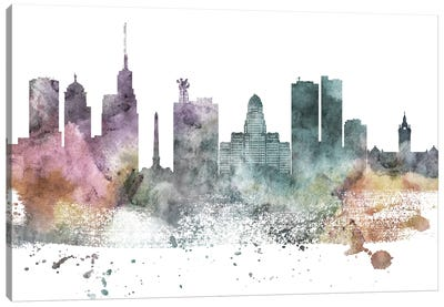 Buffalo Pastel Skyline Canvas Art Print