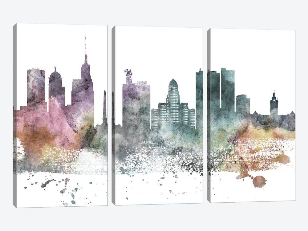 Buffalo Pastel Skyline by WallDecorAddict 3-piece Canvas Art Print