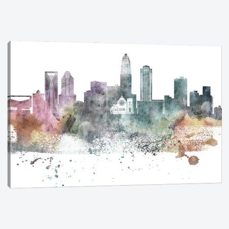 Charlotte Pastel Skyline Canvas Print #WDA1035} by WallDecorAddict Canvas Artwork