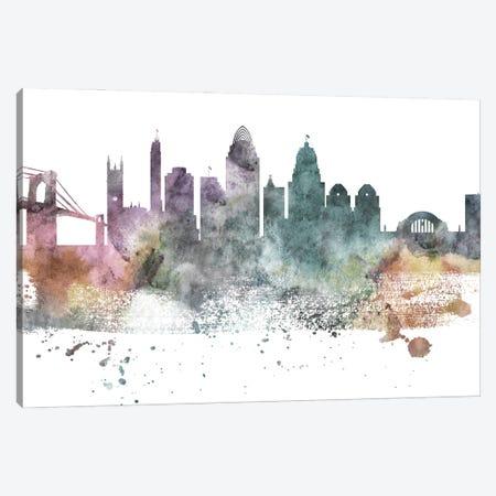 Cincinnati Pastel Skyline Canvas Print #WDA1036} by WallDecorAddict Canvas Wall Art