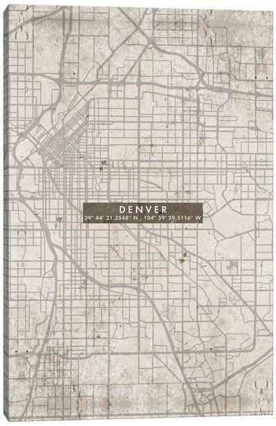 Denver City Map Abstract Canvas Art Print