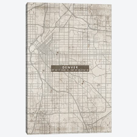 Denver City Map Abstract Canvas Print #WDA103} by WallDecorAddict Canvas Artwork