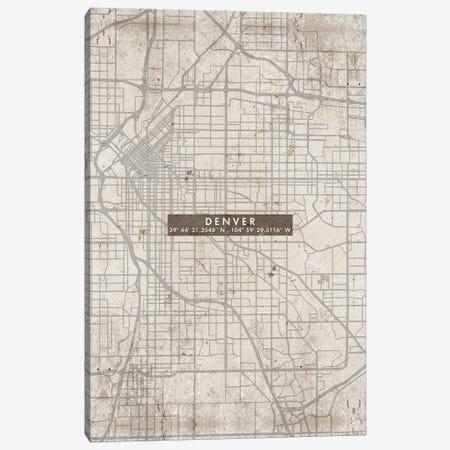 Denver City Map Abstract Canvas Print #WDA103} by WallDecorAddict Canvas Artwork