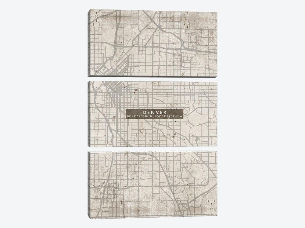 Denver City Map Abstract by WallDecorAddict 3-piece Canvas Art Print
