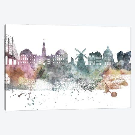 Copenhagen Pastel Skyline Canvas Print #WDA1040} by WallDecorAddict Canvas Wall Art