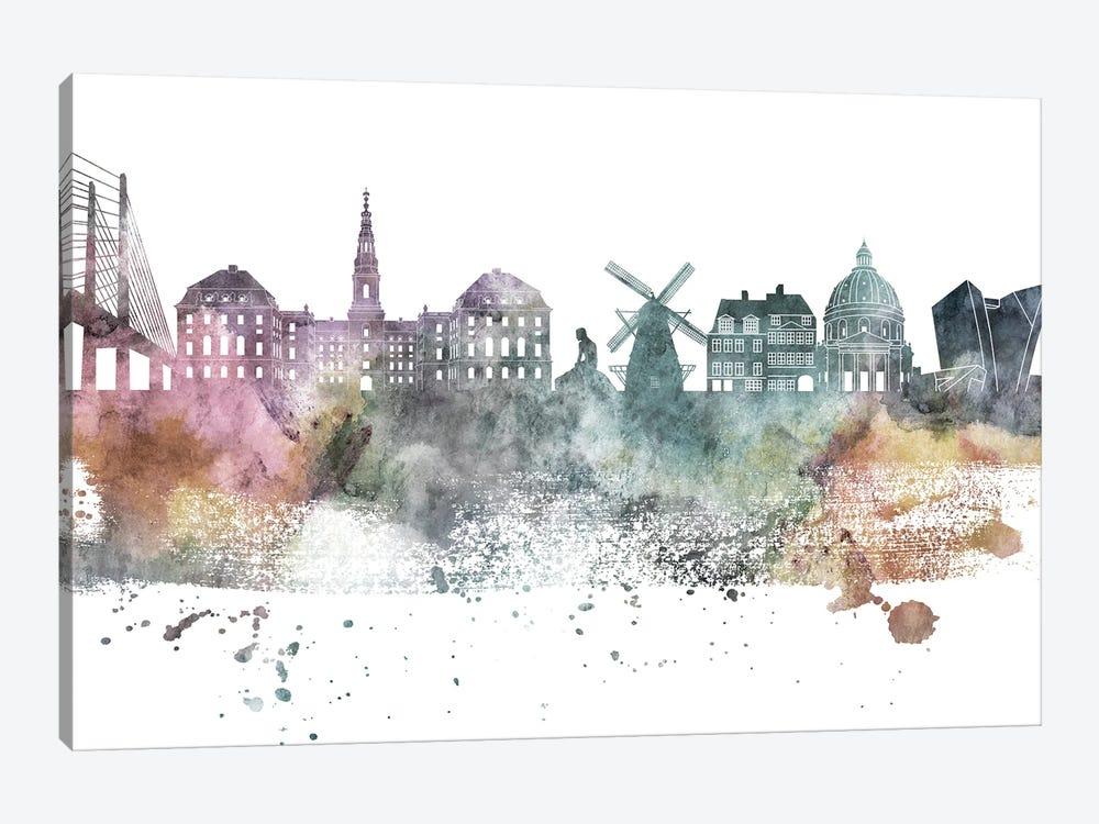Copenhagen Pastel Skyline by WallDecorAddict 1-piece Canvas Artwork