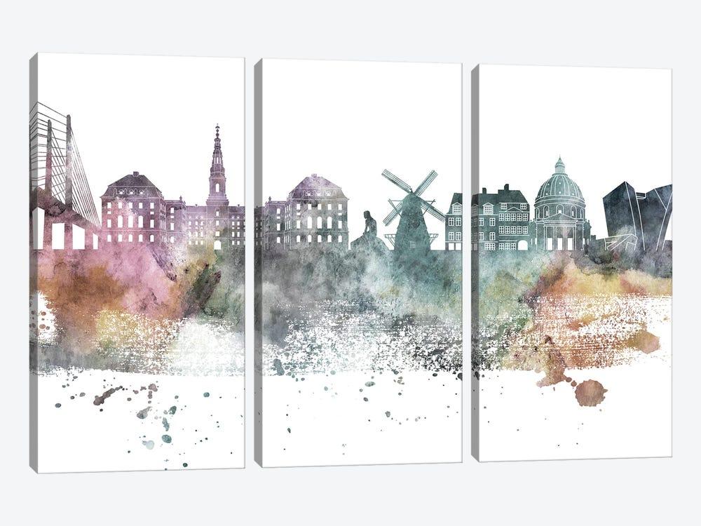 Copenhagen Pastel Skyline by WallDecorAddict 3-piece Canvas Wall Art