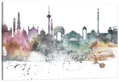 Delhi Pastel Skyline Canvas Art Print