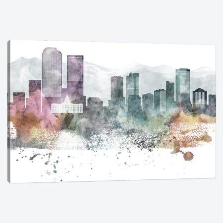 Denver Pastel Skyline Canvas Print #WDA1042} by WallDecorAddict Canvas Artwork