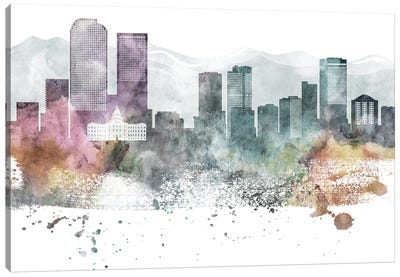 Denver Pastel Skyline Canvas Art Print