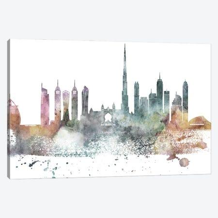 Dubai Pastel Skyline Canvas Print #WDA1043} by WallDecorAddict Canvas Artwork