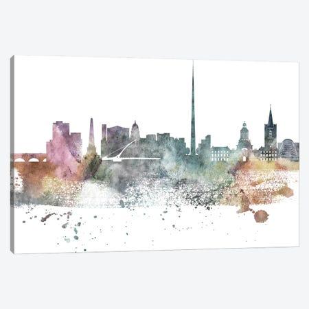 Dublin Pastel Skyline Canvas Print #WDA1044} by WallDecorAddict Art Print