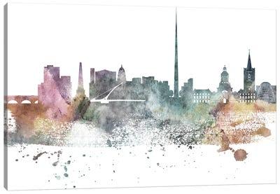 Dublin Pastel Skyline Canvas Art Print
