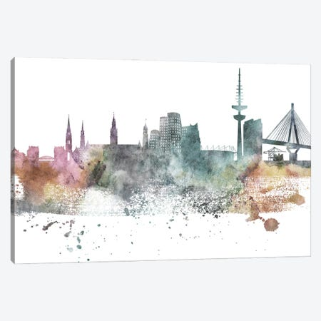 Dusseldorf Pastel Skyline Canvas Print #WDA1045} by WallDecorAddict Canvas Art Print