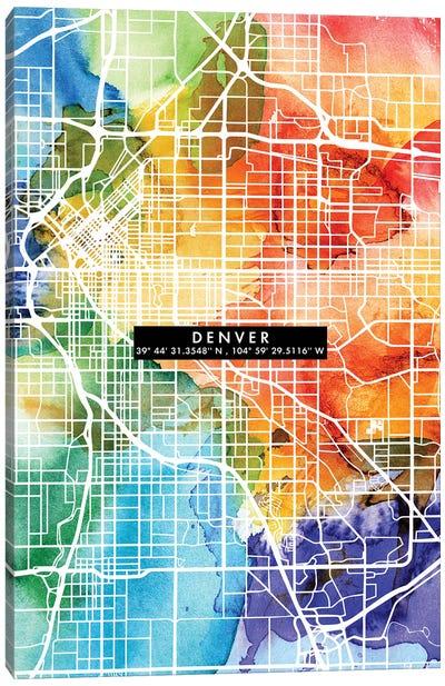 Denver City Map Colorful Canvas Art Print