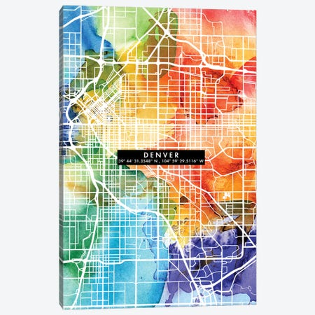 Denver City Map Colorful Canvas Print #WDA104} by WallDecorAddict Canvas Print