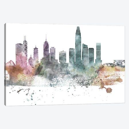 Hong Kong Pastel Skyline Canvas Print #WDA1057} by WallDecorAddict Canvas Art