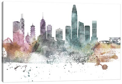 Hong Kong Pastel Skyline Canvas Art Print