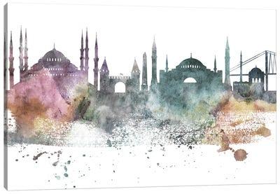 Istanbul Pastel Skyline Canvas Art Print