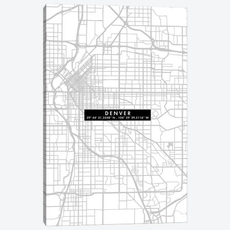 Denver City Map Minimal Canvas Print #WDA105} by WallDecorAddict Canvas Print
