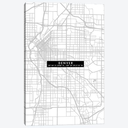 Denver City Map Minimal Canvas Print #WDA105} by WallDecorAddict Canvas Print