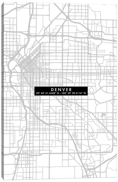 Denver City Map Minimal Canvas Art Print